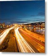 Portland Oregon Interstate Freeway Light Trails Metal Print