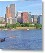 Portland Oregon Skyline And Rowing Boats. Metal Print