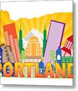 Portland Oregon Skyline In State Map Metal Print
