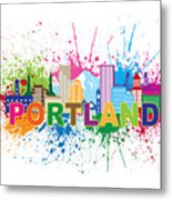 Portland Oregon Skyline Paint Splatter Text Illustration Metal Print
