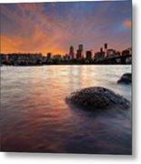 Portland Skyline Along Willamette River At Sunset Metal Print