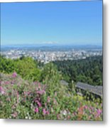 Portland Skyline With Mount Hood Metal Print