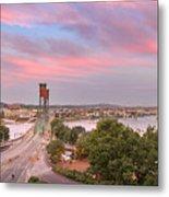 Portland Waterfront Hawthorne Bridge At Sunset Metal Print