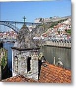 Porto And Gaia Cityscape In Portugal Metal Print