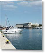 Porto Carras Harbor With Yacht And Resort Metal Print