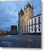 Porto Cathedral And Pillory Column In Portugal Metal Print