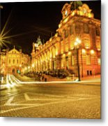 Porto City By Night Metal Print