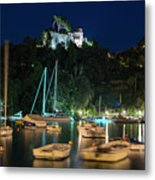 Portofino Bay By Night Iv - Castello Brown Castle Metal Print