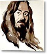Watercolor Portrait Of A Man With Long Hair Metal Print
