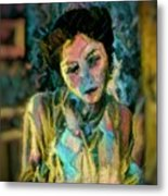 Portrait Colorful Female Wistfully Thoughtful Pastel Metal Print