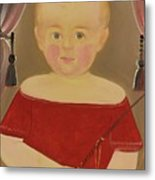 Portrait Of A Blonde Boy With Red Dress With Whip Metal Print