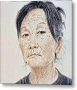 Portrait Of A Chinese Woman With A Mole On Her Chin Metal Print