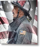 Portrait Of A Fire Fighter Metal Print