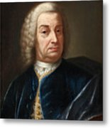 Portrait Of A Gentleman Half Length Wearing A Wig And A Blue Velvet Cape Metal Print