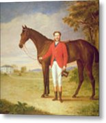 Portrait Of A Gentleman With His Horse Metal Print