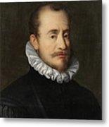 Portrait Of A Gentleman Workshop Of Hans Von Aachen - Circa 1600 Metal Print