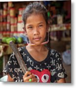 Portrait Of A Khmer Girl - Cambodia Metal Print