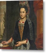Portrait Of A Lady Half Length In A Mantua Gown And Lace Frelange Headdress Metal Print