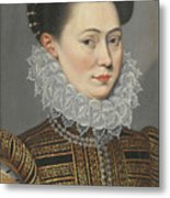 Portrait Of A Lady Head And Shoulders In A Lace Ruff Metal Print