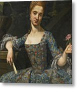Portrait Of A Lady In An Elaborately Embroidered Blue Dress Metal Print