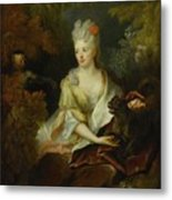 Portrait Of A Lady Seated In A Landscape With Her Pet Dog And A Monkey Metal Print