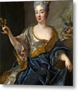 Portrait Of A Lady Three-quarter-length Holding Flowers Metal Print