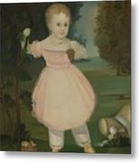Portrait Of A Little Girl Picking Grapes Metal Print