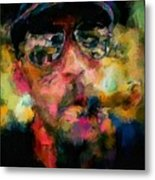 Portrait Of A Man In Sunglass Smoking A Cigar In The Sunshine Wearing A Hat And Riding A Motorcycle In Pink Green Yellow Black Blue Oil Paint With Raking Light To Pick Up Paint Texture Metal Print