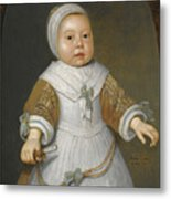 Portrait Of A One-year-old Girl Of The Van Der Burch Family Three-quarter Length Metal Print