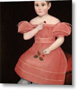 Portrait Of A Rosy Cheeked Young Girl In A Pink Dress Metal Print