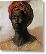 Portrait Of A Turk In A Turban Metal Print by Ferdinand Victor Eugene Delacroix