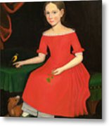 Portrait Of A Winsome Young Girl In Red With Green Slippers Dog And Bird Metal Print