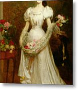 Portrait Of A Woman And Her Greyhound Metal Print by English School