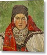 Portrait Of A Woman In A Red Scarf Metal Print