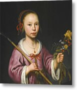 Portrait Of A Young Girl As A Shepherdess Holding A Sprig Of Flowers Metal Print