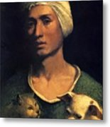 Portrait Of A Young Man With A Dog And A Cat Metal Print