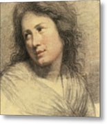 Portrait Of A Young Woman Looking Over Her Shoulder Metal Print