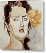 Portrait Of A Young Woman With Flower Metal Print