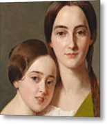 Portrait Of Alexandrine Pazzani And Her Cousin Caroline Von Saar According To Family Tradition Metal Print
