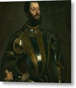Portrait Of Alfonso D'avalon -  Marquis Of Vasto - In Armor With A Page Metal Print