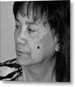 Portrait Of An Attractive Filipina Woman With A Mole On Her Cheek Metal Print