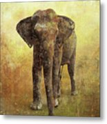 Portrait Of An Elephant Digital Painting With Detailed Texture Metal Print