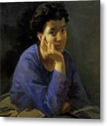 Portrait Of An Unknown Woman In A Blue Blouse Metal Print