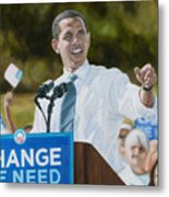 Portrait Of Barack Obama The Change We Need Metal Print by Christopher Oakley