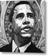 Portrait Of Barak Obama Metal Print