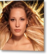 Portrait Of Beautiful Woman Face With Glowing Golden Blond Hair Metal Print