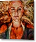 Portrait Of Female With Hair Billowing Everywhere In Radiant Unsmiling Sharp Features Golden Warm Colors And Upturned Nose Curls And Aliens Of The Departure Metal Print