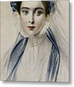 Portrait Of Her Majesty Queen Victoria As A Young Woman By Emile Desmaisons Metal Print