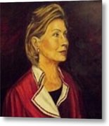 Portrait Of Hillary Clinton Metal Print by Ricardo Santos-alfonso