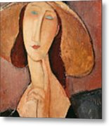 Portrait Of Jeanne Hebuterne In A Large Hat Metal Print by Amedeo Modigliani